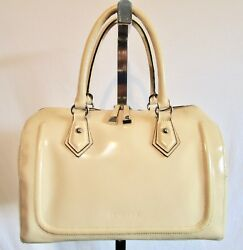 Cromia Large Ivory Beige Italy Leather Doctor Barrel Speedy Satchel Tote Handbag