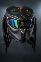 Predator Motorcycle Helmet Matt  Air Vent Black Red Tri Laser Beam Spare Visor