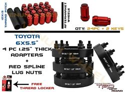 4pc 6x139.7 1.25 Hubcentric Adapter + 24 M12x1.5 Red Lug Nuts Fits Fj Cruiser