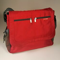 SKIP HOP Messenger Diaper Large Bag Red Unisex Dad Mom 18 Pockets Fast Shipping $25.00