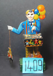 Rare Vintage German Tin Litho Wind Up Balloon Man With Mickey Mouse.