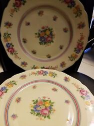 Set Of 2 Hutschenreuther Cm Hohenberg Germany Floral Dinner Plate 10
