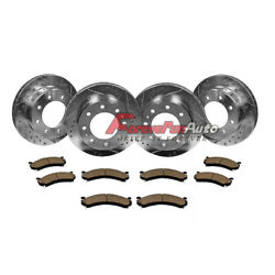 Front+rear Drilled Slotted Brake Rotors And Ceramic Pads Chevy Gmc 2500 3500 Hd