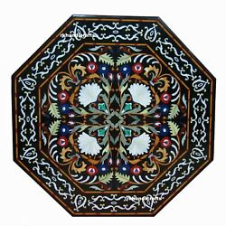 Temple Floor Table Top 60'' Octagon Black Marble Pietra Dura Art Inlay Design