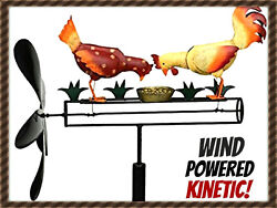 New Pecking Chicken And Rooster Whirligig Wind Powered Kinetic Yard Deco Spinner