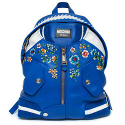 Moschino Blue Embroidered Floral Bomber Jacket Leather Backpack Scott Italy New