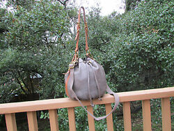 Fossil Reissue II Maddox Gray Leather Drawstring Crossbody Bag Shoulder Purse