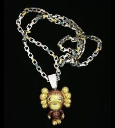 925 Sterling Silver Customize Monkey Shaped With Wide Ears Cz Pendant 36'' Chain