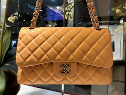 CHANEL - Peach Orange Classic Quilted Jumbo Double Flap Patent Leather