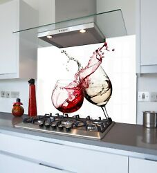 Toughened And Heat Resistant Printed Kitchen Glass Splashback - Red And White Wine
