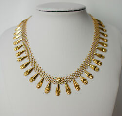 Unique Antique Handmade Hand Woven 18-14k Solid Gold Necklace.