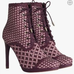 Zimmermann Weave Ankle Boots   Burghandy   Lace Up High Heels   1100 Rrp