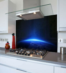 Toughened And Heat Resistant Printed Kitchen Glass Splashback - Blue Earth