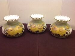 Vintage Hurricane Lamp Shade Hand Painted Artist Signed Ruffle Top Gwtw Lot Of 3