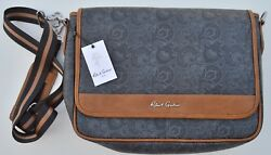 NWT $248 Robert Graham leather Messenger Briefcase Laptop Bag with striped strap