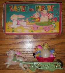 Antique Easter On Parade Celluloid And Tin Wind Up W Box Occupied Japan 1946 Toy