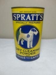 VINTAGE SPRATTS DOGS CATS DRY CLEANING POWDER TIN FOX WIRE HAIR TERRIER