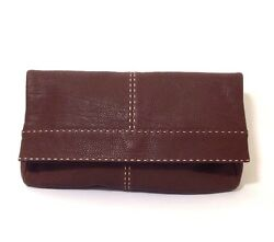 Michael Kors Hutton Collection Dark Brown Fold Over Clutch Bag Leather