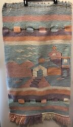 VTG Tapestry Rug Southwest Woven Wall Hanging Native Folk Mexico 25 X 47