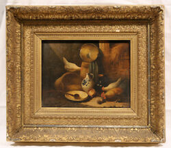 Late 19th Century Signed Farm Still-life Oil Painting 1880 Chickens In A Barn