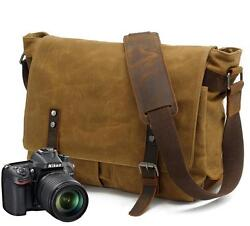 Vintage Men's Canvas Leather Shoulder Bag Waterproof Camera Bag Leisure Satchel