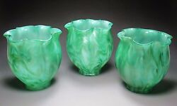 Rare Set Of 3 LOETZ Art Glass Lamp Shades TITANIA Décor circa.1907 Tiffany Era