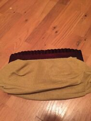 Vintage OLD NAVY Tan Yellow  CLUTCH PURSE BAG WOOD HANDLE BEACH Party