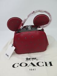 NWT Disney X Coach 1941 Minnie Mouse Kisslock Bag Limited Edition Red Glitter