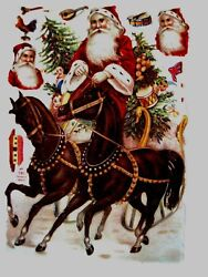 Vintage Victorian Antique Christmas Die Cut W/ Two Horses W/ Bells And Swan Sled