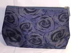 Lancome Blue Floral Print Makeup Cosmetic Bag Travel Case BEAUTIFUL * $7.99