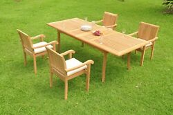 Dsnp A-grade Teak 5pc Dining 94 Rectangle Table 4 Stacking Arm Chair Set