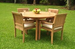 Dssk Grade-a Teak Wood 5pc Dining 52 Round Table 4 Arm Chair Set Outdoor Patio