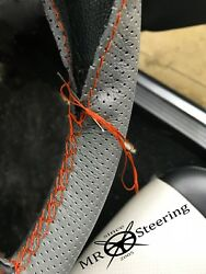 For Rover P4 Grey Perforated Leather Steering Wheel Cover 1949+ Orange Double St