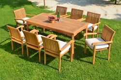 Dsnp A-grade Teak Wood 9pc Dining 71 Rectangle Table 8 Stacking Arm Chair Set