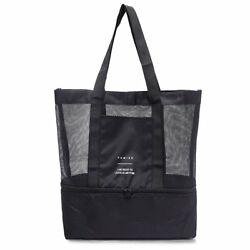 Cambsports Mesh Beach Tote Bag With Insulated Cooler 2-In-1 Picnic Bag