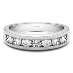 10k Solid Gold Seven Stone Channel Set Wedding Ring(0.98Ct)