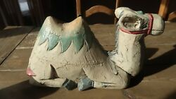 Large Antique Wood Carved Nativity Camel 12.5 X 7.25 X 4.25 Inches