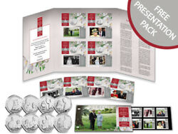 Iom Stamps And Coins Proof-like 2017 Ltd Edition Platinum Wedding 50p Collection