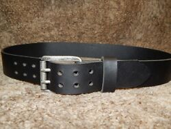 Quality 9 Oz Buffalo Leather Belt With 2 Prong Pin Massive Antique Buckle.