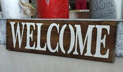 Welcome Wood Sign Front Door Entry Rustic Farmhouse Porch Decor Small 12 Sign