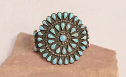 Antique Zuni Silver And Turquoise Cluster Bracelet Fits Up To 6 1/4 Wrist