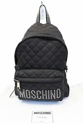 Moschino Women Large Studded Quilted Nylon Black Backpack