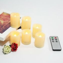 Flameless Flicker LED Battery Operated Votive Candles w Remote and Timer 6 Pack