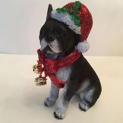 "Large French Bulldog Christmas Statue Resin. 7""tall."