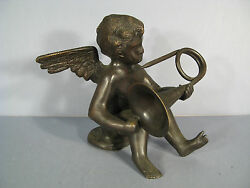 Sculpture Bronze Angel Musician Antique Statue Putti Bronze Love Musician