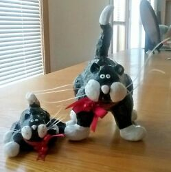 Pottery Cat Figurines Large & Small Pair Black & White Whiskers Red Bows Bells