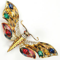 Corocraft Sterling Gold Enamel and Multicolour Stones Butterfly Pin