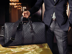 Gucci Duffle Luggage GG Supreme Carry On Bag Black Signature GG Leather New 1
