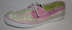 Sperrys Top Sider Pink And Green Bahama Plaid Boat Shoes Women's Size 10m