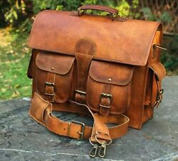 Leather Vintage Messenger Shoulder Men Satchel S Laptop School Briefcase Bag $52.50